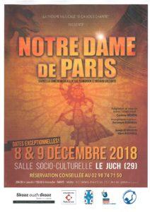 LA TROUPE MUSICALE «SI CA VOUS CHANTE» PRESENTE LA COMEDIE MUSICALE «NOTRE DAME DE PARIS» LES 8 ET 9 DECEMBRE AU JUCH – SALLE SOCIOCULTURELLE