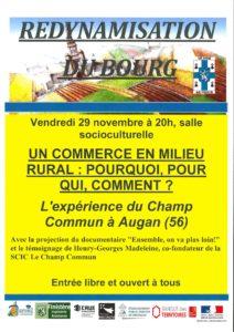 REDYNAMISATION DU BOURG – CONFERENCE DEBAT – EXPERIENCE CHAMP COMMUN A AUGAN – VENDREDI 29 NOVEMBRE